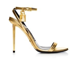 Preowned TOM FORD Gold padlock sandals